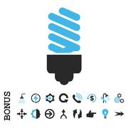 Fluorescent Bulb Flat Vector Icon With Bonus Stock Illustration