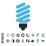 Fluorescent Bulb Flat Vector Icon With Bonus Stock Illustration