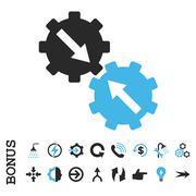 Gear Integration Flat Vector Icon With Bonus Stock Illustration