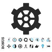 Gear Flat Vector Icon With Bonus Stock Illustration