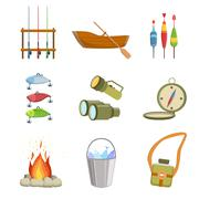 Fishing And Camping Equipment Set - stock illustration