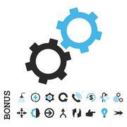 Gears Flat Vector Icon With Bonus - stock illustration