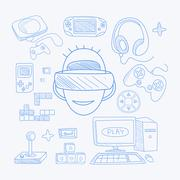 Vidoe Game Related Objects Set With The Gamer - stock illustration
