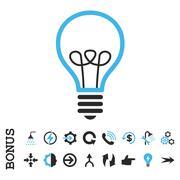 Lamp Bulb Flat Vector Icon With Bonus Stock Illustration