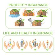 Property, Life And Health Insurance Infographic Poster Stock Illustration