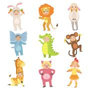 Kids In Animal Costumes Set Stock Illustration