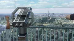 People In Montparnasse Tower Panoramic Observation Deck, 4K Stock Footage