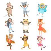 Kids Dressed As Animals Set Stock Illustration