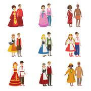 Couples Wearing National Costumes Set Stock Illustration