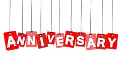 Vector colorful hanging cardboard. Tags - anniversary Stock Illustration