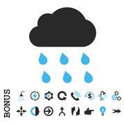Rain Cloud Flat Vector Icon With Bonus Stock Illustration
