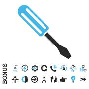 Screwdriver Flat Vector Icon With Bonus Stock Illustration