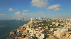 Aerial View, Flying Over Old Jaffa Port, Tel-Aviv Skyline and the Sea Stock Footage