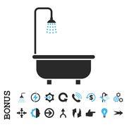 Shower Bath Flat Vector Icon With Bonus Stock Illustration