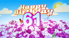 Happy 61st Birtday in a Field of Flowers Stock Footage