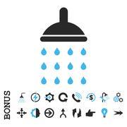 Shower Flat Vector Icon With Bonus - stock illustration