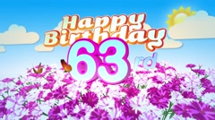 Happy 63rd Birtday in a Field of Flowers Stock Footage