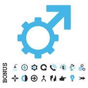 Technological Potence Flat Vector Icon With Bonus - stock illustration