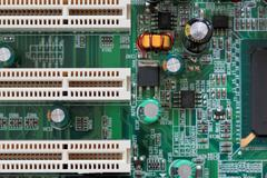 Socket electronics components on PC computer mainboard. Stock Photos