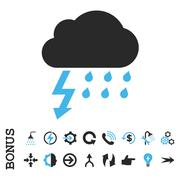 Thunderstorm Flat Vector Icon With Bonus - stock illustration