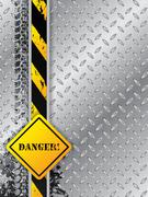 Abstract industrial background with tire tracks with danger text Stock Illustration