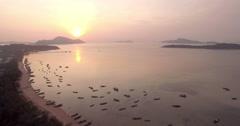 Rawai Bay in Phuket Sunrise Aerial Pull Back Drone Shot Stock Footage