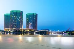 Modern office buildings in hangzhou west lake culture plaza at twilight Stock Photos