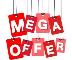 Vector colorful hanging cardboard. Tags - mega offer - stock illustration