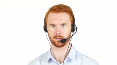 Call center operator man with headsets working ,Customer service agent Stock Footage