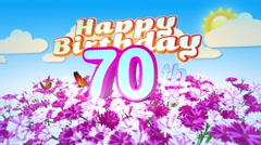 Happy 70th Birtday in a Field of Flowers Stock Footage
