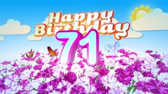 Happy 71st Birtday in a Field of Flowers Stock Footage