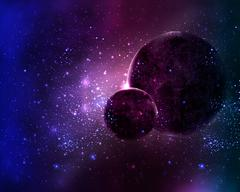 Two planets in the night sky space star Stock Illustration
