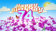 Happy 74th Birtday in a Field of Flowers Stock Footage