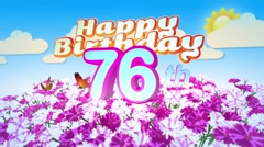 Happy 76th Birtday in a Field of Flowers Stock Footage