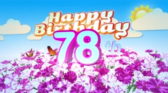 Happy 78th Birtday in a Field of Flowers Stock Footage