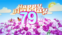 Happy 79th Birtday in a Field of Flowers Stock Footage