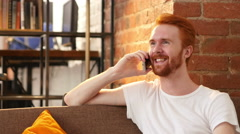 good news young red hair man on the phone  , celebration job offer - stock footage