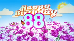 Happy 88th Birtday in a Field of Flowers Stock Footage