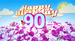 Happy 90th Birtday in a Field of Flowers Stock Footage
