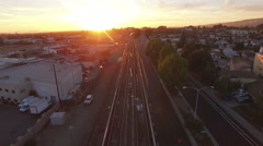 4K Aerial view bart train coming backward Stock Footage