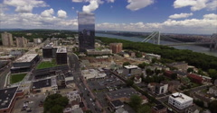 Aerial of Fort Lee & Englewood Cliffs Highline & Bridge Stock Footage