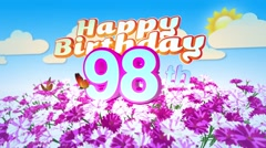 Happy 98th Birtday in a Field of Flowers Stock Footage