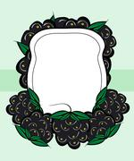 Vector hand drawn labels berry BlackBerry - stock illustration