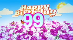 Happy 99th Birtday in a Field of Flowers Stock Footage