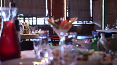 Fine dining in Restaurant Stock Footage