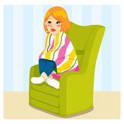Sick Woman Stock Illustration