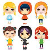 Sweet Little Girls - stock illustration