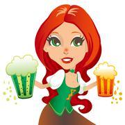 Saint Patrick Waitress - stock illustration