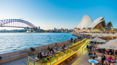 4k timelapse video of people dining at outdoor restaurants in Sydney Stock Footage