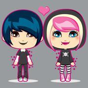 Teen Emo Couple - stock illustration